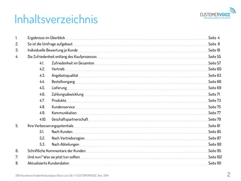 Inhaltsverzeichnis Kundenzufriedenheitsanalyse